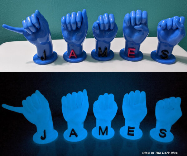 """Letters """"JAMES"""" in glow in the dark blue with black and magenta letters"""