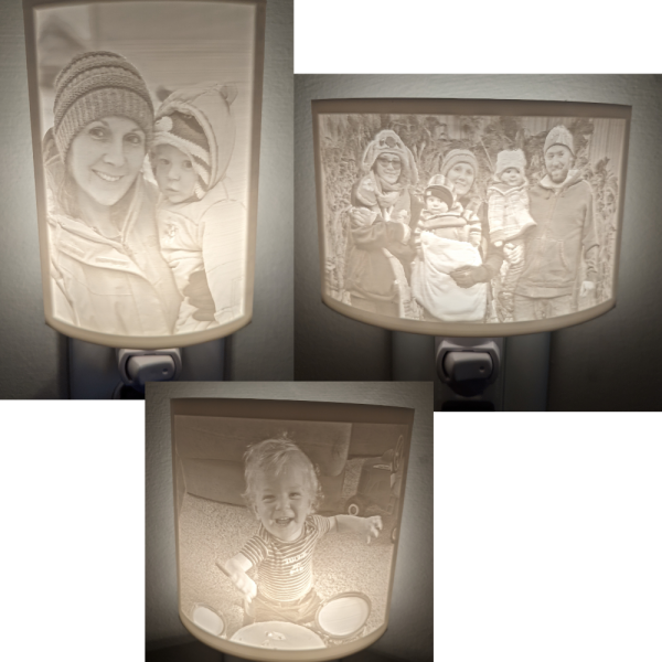 photo of 3 lithophane nightlights showing different sizes